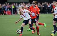 20170514 - LILLE , FRANCE : LOSC's Silke Demeyere (left) pictured in a duel with La Roche's Charlotte Peslerbe (middle) during the 21 st competition game between the women teams of Lille OSC and La Roche Sur Yon in the 2016-2017 season of the Second Division A D2F A at stade Lille Metropole , Saturday 14th May 2017 ,  PHOTO Joke Vuylsteke | Sportpix.Be
