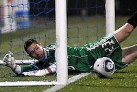 Troy Perkins goes inside the net but the ball stays out...Kansas City Wizards defeated DC United 4-0 in their season opener, at Community America Ballpark in Kansas City, Kansas.