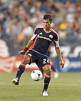 New England Revolution midfielder Benny Feilhaber (22) traps the ball. In a Major League Soccer (MLS) match, Montreal Impact defeated the New England Revolution, 1-0, at Gillette Stadium on August 12, 2012.