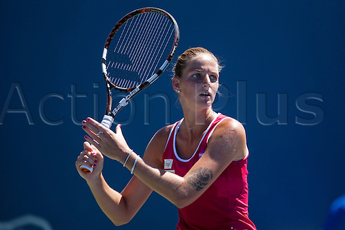 09.08.2015. Stanford, California, USA.  Karolina Pliskova (CZE) in action during the finals of the Bank of the West Classic at Stanford University's Taube Family Tennis Center in Stanford, Calif. Pliskova, who was seeded 4th in the tournament, fell to Angelique Kerber (GER), seeded 5th, after a three-set match.