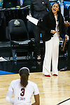 DALLAS, TX - APRIL 2: Head coach Dawn Staley of the South Carolina Gamecocks yells to Kaela Davis #3 of the South Carolina Gamecocks during the 2017 Women's Final Four at American Airlines Center on April 2, 2017 in Dallas, Texas. (Photo by Timothy Nwachukwu/NCAA Photos via Getty Images)