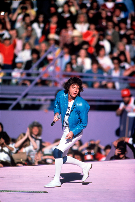 Mick Jagger and the Rolling Stones perform to a sellout crows at the Cotton Bowl, in Dallas, Texas, 1981.