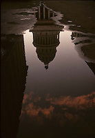 Capitolio Building reflected in a puddle in Havana, Cuba - 1999