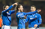 Dundee United v St Johnstone...12.03.14    SPFL<br /> Stevie May celebrates his return to scoring after having a haircut, he is pictured with James Dunne and David Wotherspoon;<br /> Picture by Graeme Hart.<br /> Copyright Perthshire Picture Agency<br /> Tel: 01738 623350  Mobile: 07990 594431