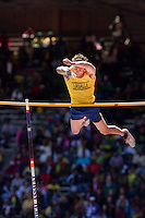 "Beau Whitman of La Salle College High School attempts to clear the bar in the High School Boys' Pole Vault Championship at the Penn Relays on April 24. Whitman placed fifteenth overall with a vault of 4.20m (13' 9.25"")."