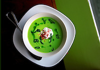 Chilled avacado soup with basil-lemon yogurt at Art of the Table restaurant in Seattle. (Photo by Scott Eklund)