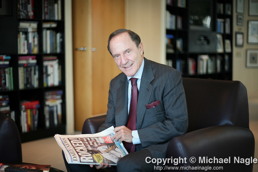 NEW YORK, NY -  OCTOBER 05, 2007:   Mort Zuckerman, US  News and World Report / Daily News owner / real estate mogul, in his office on October 5th, 2007 in New York City.  (Photograph by Michael Nagle)