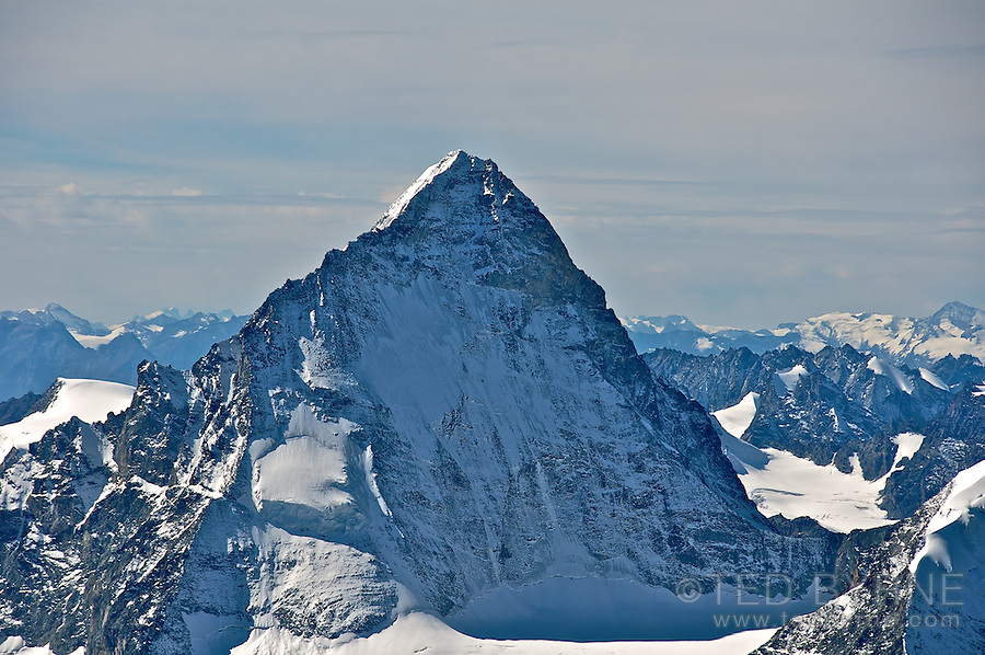 Steep west face of the Dent Blanche mountain in the Swiss Alps