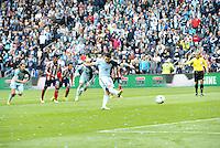 Claudio Bieler (16) forward Sporting KC taking penalty kick..Sporting Kansas City defeated Chivas USA 4-0 at Sporting Park, Kansas City, Kansas.