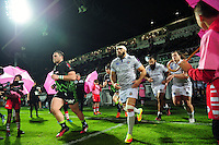 Guy Mercer of Bath Rugby leads the team onto the field for the start of the match. European Rugby Challenge Cup match, between Pau (Section Paloise) and Bath Rugby on October 15, 2016 at the Stade du Hameau in Pau, France. Photo by: Patrick Khachfe / Onside Images