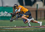 16 April 2016: University of Maryland, Baltimore County Retriever Defender Jason Brewster, a Freshman from San Diego, CA, battles for possession against the University of Vermont Catamounts at Virtue Field in Burlington, Vermont. The Retrievers fell to the Catamounts 14-10 in NCAA Division I play. Mandatory Credit: Ed Wolfstein Photo *** RAW (NEF) Image File Available ***
