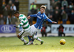 St Johnstone v Celtic...13.12.15  SPFL  McDiarmid Park, Perth<br /> David Wotherspoon is fouled by Emilio Izaguirre<br /> Picture by Graeme Hart.<br /> Copyright Perthshire Picture Agency<br /> Tel: 01738 623350  Mobile: 07990 594431