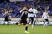 Michael Roman (17) of the Louisville Cardinals. Connecticut defeated Louisville 1-0 during the first semifinal match of the Big East Men's Soccer Championships at Red Bull Arena in Harrison, NJ, on November 11, 2011.