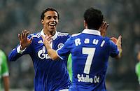 FUSSBALL   1. BUNDESLIGA   SAISON 2011/2012   22. SPIELTAG FC Schalke 04 - VfL Wolfsburg         19.02.2012 Joel Matip und Raul (re, FC Schalke 04) jubeln nach dem 1:0