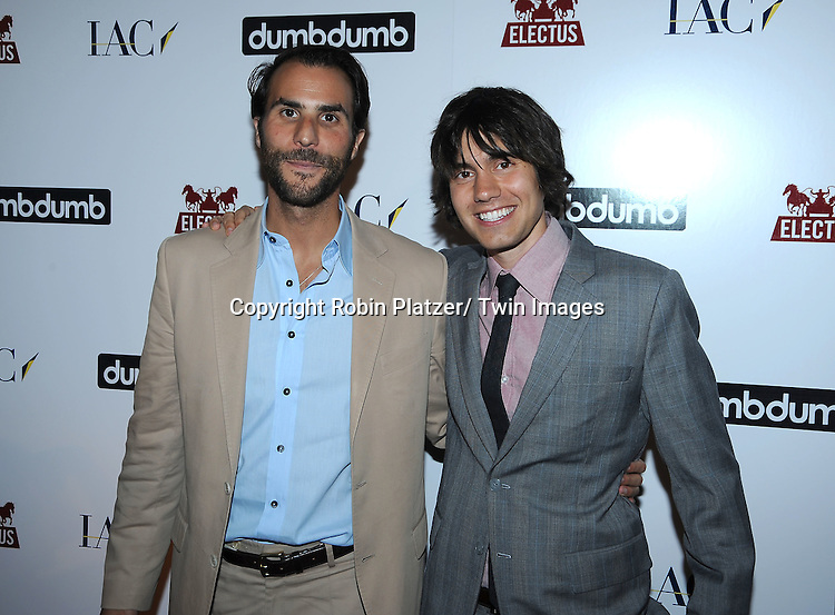 Ben Silverman and Ricky Van Veen  posing for photographers at the launch of DumbDumb on June 10, 2010 at the IAC Building in New York City. DumbDumb is Will Arnett and Jason Bateman's New Comedic Content and Marketing Company.