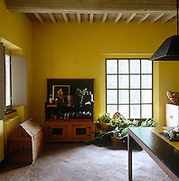 The walls of this kitchen are covered in an intense, warm  yellow pigment