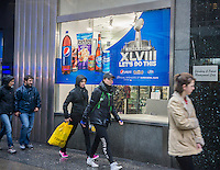 Pepsi-Cola promotion for Super Bowl XLVIII, held at Met Life Stadium in NJ on February 2, 2014, is seen in New York on Sunday, December 29, 2013. Despite the game being held in New Jersey sports fans are expected to pack New York to take part in the multitude of activities planned around the game.  (© Richard B. Levine)