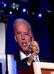 Democratic National Convention, 2008: Following his nomination, Senator Joe Biden (D-Delaware), Democratic vice-presidential candidate, speaks to the assembled convention. Denver, Colorado, August 27, 2008.