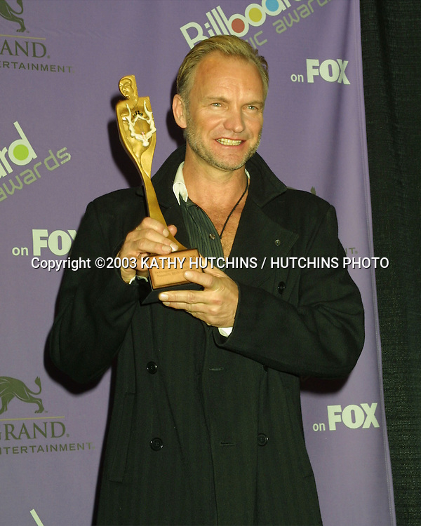 ©2003 KATHY HUTCHINS / HUTCHINS PHOTO.2003 BILLBOARD AWARDS.MGM GRAND HOTEL.LAS VEGAS, NV.DECEMBER 10, 2003..STING