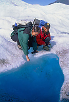 Pool of water on the Root glacier, Kennecott, Wrangell St. Elias National Park, Alaska.