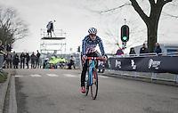 Katie Kompton (USA) on her way to the start<br /> <br /> women's race<br /> CX Soudal Classics Leuven/Belgium 2017