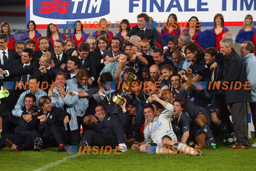 Torino 12/5/2004 Italy Cup final <br /> Juventus - Lazio 2-2 <br /> La squadra della Lazio festeggia la conquista della coppa Italia.<br /> Lazio's players celebrate with the trophy after defeating Juventus in the Italian Cup final second leg match at the Delle Alpi Stadium in Turin May 12, 2004. Lazio won the first match in Rome 2-0 and the second match ended in a 2-2 draw. <br /> Photo Insidefoto