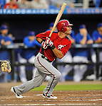5 March 2012: Washington Nationals outfielder Rick Ankiel hits a solo home run during a Spring Training game against the New York Mets at Digital Domain Park in Port St. Lucie, Florida. The Nationals defeated the Mets 3-1 in Grapefruit League play. Mandatory Credit: Ed Wolfstein Photo