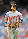 24 May 2009: Baltimore Orioles' second baseman Brian Roberts returns to the dugout during a game against the Washington Nationals at Nationals Park in Washington, DC. The Nationals rallied to defeat the Orioles 8-5 and salvage a win in their interleague series. Mandatory Credit: Ed Wolfstein Photo