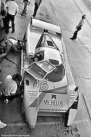 """The distinctive """"lobster claw"""" front end of the March 82G is easily seen in this overhead view in the Sebring pit lane in 1982. Bobby Rahal qualified this car on the pole and, with co-drivers Jim Trueman and Maurico DeNarvaez, finished the race in 2nd place."""