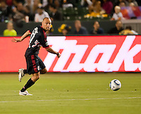 CARSON, CA – May 7, 2011: New York Red Bulls midfielder Joel Lindpere (20) during the match between LA Galaxy and New York Red Bull at the Home Depot Center, May 7, 2011 in Carson, California. Final score LA Galaxy 1, New York Red Bull 1.