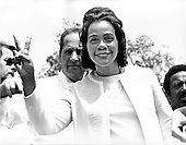 "Washington, D.C. - January 31, 2006 -- Coretta Scott King has passed away in Atlanta, Georgia at age 78.  This file photo, taken in Washington, D.C.  on May 9, 1970 shows Mrs. Martin Luther King (Coretta Scott) flashing the victory sign as she attended an anti-war rally at the White House. She was one of over 100,000 demonstrators who attended the rally to protest the war in Vietnam and Cambodia..Credit: Benjamin E. ""Gene"" Forte - CNP"
