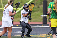 Towson, MD - March 25, 2017: Towson Tigers Angie Benson (77) makes a save during game between Towson and Oregon at  Minnegan Field at Johnny Unitas Stadium  in Towson, MD. March 25, 2017.  (Photo by Elliott Brown/Media Images International)