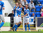 St Johnstone v Falkirk&hellip;23.07.16  McDiarmid Park, Perth. Betfred Cup<br />Steven MacLean celebrates the third goal with Steven Anderson and Chirs Millar, but the goal was given to Joe Shaughnessy<br />Picture by Graeme Hart.<br />Copyright Perthshire Picture Agency<br />Tel: 01738 623350  Mobile: 07990 594431