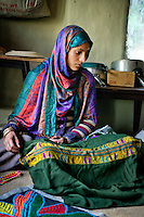 Shepherd crafts made by the Gujjar and Bakarwal women. Pahalgam, Kashmir, Northern India, India