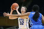 26 October 2014: Erin Mathias (32) and Azura Stevens (in blue). The Duke University Blue Devils held their annual Blue-White Game at Cameron Indoor Stadium in Durham, North Carolina in preparation of the upcoming 2014-15 NCAA Division I Women's Basketball season.