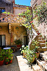 Courtyard of a house in &Eacute;rice, Erice, Sicily stock photos.