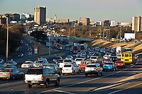Austin Rush Hour Traffic craws through Downtown Austin as Austin has the worst traffic for medium sized city in the US, Austin, Texas, USA