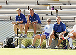 Duke's coaching staff (from left): associate head coach Billy Lesesne, head coach Robbie Church, assistant coach Carla Overbeck, and goalkeeper coach Ed Moore. Sunday, October 16th, 2005 at Duke University's Koskinen Stadium in Durham, North Carolina. The Duke University Blue Devils defeated the University of Maryland Terrapins 1-0 during an NCAA Division I Women's Soccer game.