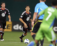 New signing Pablo Hernandez #21 of D.C. United during an MLS match against Seattle Sounders FC at RFK Stadium on July 15 2010, in Washington DC.Seattle won 1-0.
