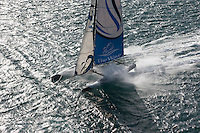 10th October  2010. Almeria. Spain..Pictures of The Wave Muscat skippered by Paul Campbell James in action close to the city centre during the second days racing.