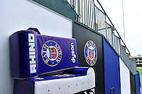 A general view of Bath Rugby branded tackle shields. Aviva Premiership match, between Bath Rugby and Exeter Chiefs on October 17, 2015 at the Recreation Ground in Bath, England. Photo by: Patrick Khachfe / Onside Images