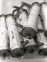 A closeup of dialysis filters.