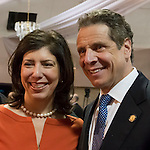 Acting District Attorney of Nassau County MADELINE SINGAS and New York State Governor ANDREW CUOMO, pose for a photograph at end of Press Conference supporting extension of the NY Property Tax Cap. At the bi-partisan event at Knights of Columbus Hall, over a hundred area residents and officials, and the governor, urged extending the property tax cap before the state legislative session ends on June 17. The NY Property Tax Cap is set to expire June 2016, but is legally linked to NYC rent-control regulations set to expire this month.