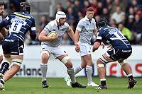Dave Attwood of Bath Rugby in possession. Aviva Premiership match, between Sale Sharks and Bath Rugby on May 6, 2017 at the AJ Bell Stadium in Manchester, England. Photo by: Patrick Khachfe / Onside Images