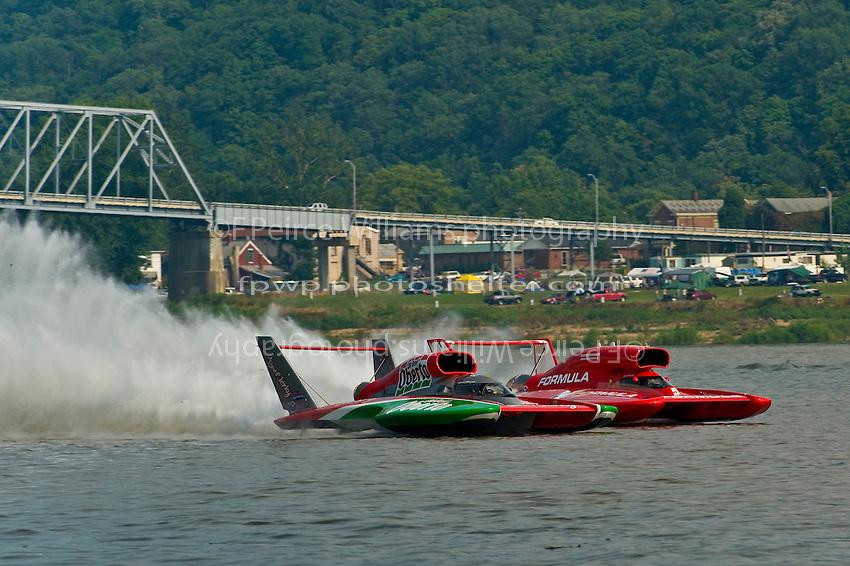 "6 July 2008 Madison Regatta.(L to R)  Steve David, U-6 ""Oh Boy! Oberto"" and Jeff Bernard, U-5 ""Formulaboats.com"" charge the starting line for the final heat..©2008 F.Peirce Williams."