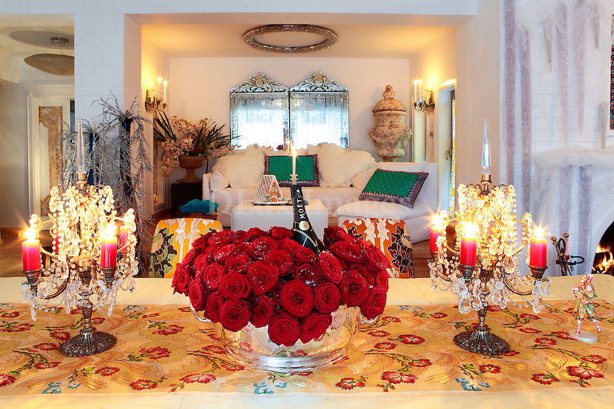dining table with christmas ornaments