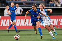 Seattle, WA - Sunday, May 21, 2017: Katlyn Johnson and Dani Weatherholt during a regular season National Women's Soccer League (NWSL) match between the Seattle Reign FC and the Orlando Pride at Memorial Stadium.