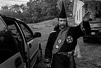 "near Prospect, TN, USA , May 9th 2009.Lawrence Grant, ""Imperial Khaliff"", is the designated successor of Ray Larsen, ""International Imperial Wizard"". ""Cross Burning"" is one of the most well known rituals of the Ku Klux Klan, it has to take place on private ground, as it it is theoretically forbidden. Since President Obama was elected on Nov. 4th, 2008, the Ku Klux Klan has seen new memberships applications being multiplied by 6 compared to the previous year!"