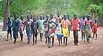 Students arrive for class at the Loreto Primary School in Rumbek, South Sudan. The school is run by the Institute for the Blessed Virgin Mary--the Loreto Sisters--of Ireland.