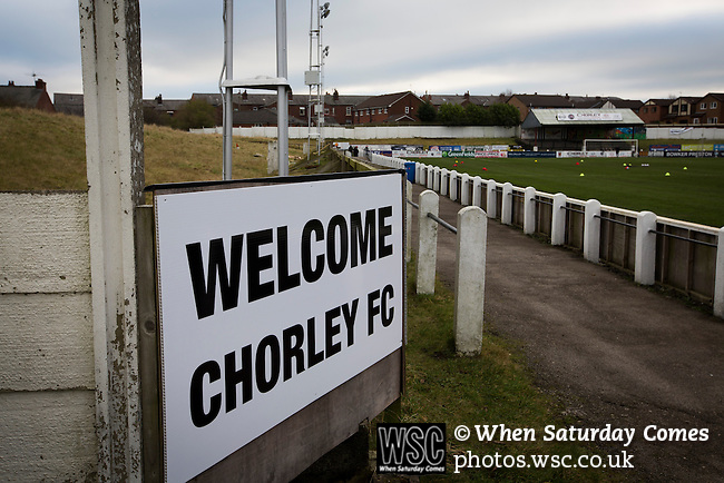 Chorley 2 Altrincham 0, 21/01/2017. Victory Park, National League North. A sign inside Victory Park, before Chorley played Altrincham in a Vanarama National League North fixture. Chorley were founded in 1883 and moved into their present ground in 1920. The match was won by the home team by 2-0, watched by an above-average attendance of 1127. Photo by Colin McPherson.
